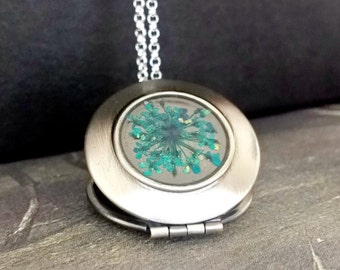 Silver Locket,925 Sterling Silver chain,real dried flowers,blue,wedding necklace,antique style locket