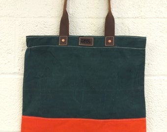 Waxed Canvas and Leather Tote (Forest Green and Hunter Orange)