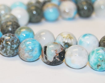 Gorgeous Natural Larimar Gemstone Smooth Round Loose Beads 15.5'' Long Per Strand. Size 6mm/8mm/10mm R-S-LAR-0340