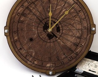 Celestial wooden 24 hour wall clock