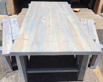 Distressed Finish, Hand Made Dining Room Table and Benches