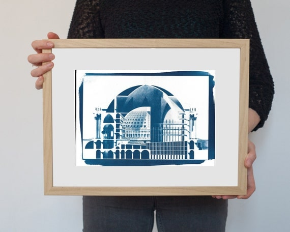 Neoclassical Cutaway by Etienne-Louis Boullée, Architectural Cyanotype on Watercolor Paper, A4 size