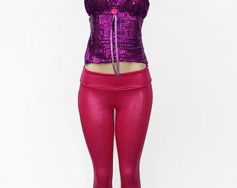 Pink Glossy Leggings And Sequin Purple Top P16-14