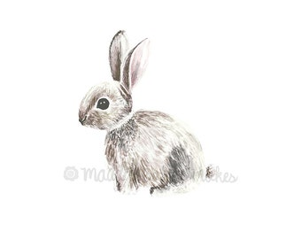 Bunny Watercolor Print - Woodland Animals - Nursery Wall Art - Baby Room Art -  Rabbit Art Print - Baby Boy Decor - Gift Idea