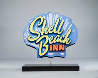 Shell Beach neon sign photo / motel sign photo / beach art / shell beach / beach photo / ocean art / neon sign / mid century modern /