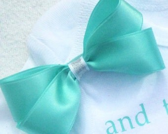 Mint Green (or any color) Hair Bow with Silver Glitter Accent