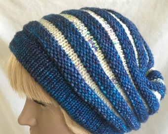 Handmade Slouchy Hat Knit With Madelinetosh Merino Wool