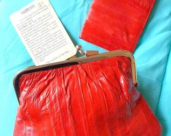 Red 1980's Eel Skin Clutch