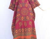 Vtg 70s india cotton block print ethnic boho hippie caftan maxi dress
