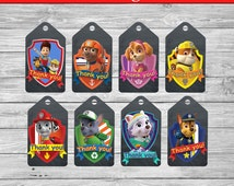 Paw Patrol Thank You Tags - Paw Patrol Party - 8 Printable Paw Patrol Tags - Thank You Labels - Paw Patrol Bag Toppers - Instant Download