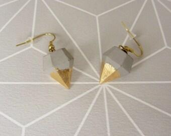 Concrete earrings diamonds * all gold must *.