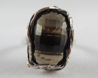 Smoky Quartz Gemstone Ring - Sterling Silver - 18k Gold