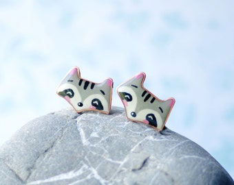 Cute raccoon stud earrings, small stud earrings, animals stud earrings, kawaii jewelry silver 925 studs