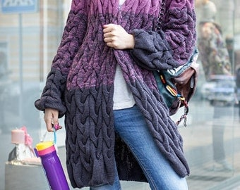 Wool knit coat Full length coat Woman knit coat Knit jacket Long winter coat Purple cardigan Knit wool sweater Knit sweater coat Wool poncho