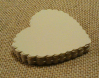 "GIFT TAGS 50 pcs. IVORY. Cardstock 2.75"" scalloped hearts/blank/23sweets/die cut/wedding/rustic/party/gift/hang tags/scrap booking/paper"