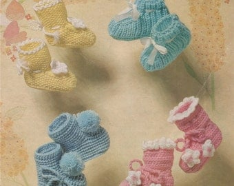 Baby Bootees PDF Crochet and Knitting Pattern : Babies Booties . DK . Baby Boy or Baby Girl . Instant Digital Download