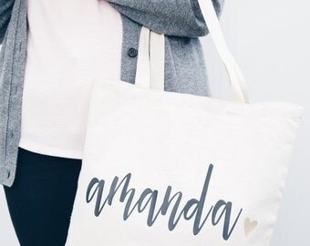 Custom Name Tote Bag | Bridesmaid bag, canvas bag, bridesmaid gift, maid of honor, mother of bride, personalized bag, wedding favor