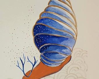 Illustration original sea snail - Watercolour