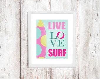 Surf wall art surfing nursery art beach wall art shark nursery for Surf nursery ideas