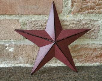 Set of 3 (8 inch) Burgundy Tin Metal Barn Stars, Country Barn Star, Country Craft Supplies, Tin Star Ornament, Country Home Decor