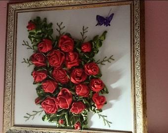 3D sewn silk flowers hand-made