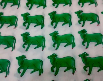 3m Super soft Cotton and Mulmul fabric 2.5mtrs printed floral (Green Oxen)