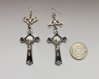 religious, crucifix black and silver earrings,handmade