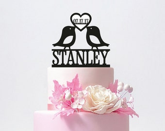 Love Birds Wedding Cake Topper, Personalized Wedding Cake Topper With Your Last Name,Mr and Mrs,Custom wedding cake topper / ST012