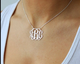 SALE-Monogrammed Sterling Silver Necklace- Bridesmaids- Gift