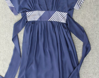 25% OFF blue kimono dress / tie-back silk dress
