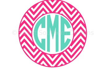 Chevron pattern circle monogram frame SVG DXF instant download design for circuit or silhouette