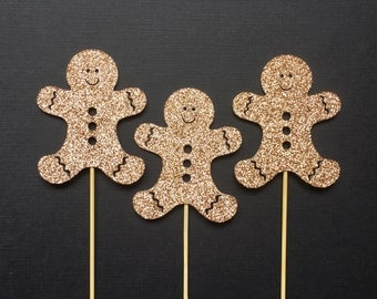 Gingerbread Men Cupcake Toppers | Christmas Cookie Cupcake Topper | Party Decoration | Winter Holiday Decor | Glitter Party Accessories