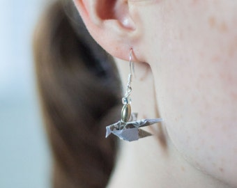 Origami Drop Sparrow Earrings - Origami Earrings - Chocolate Brown