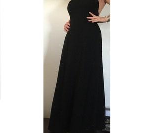 Black Carla Zampatti full length pure wool halter neck evening dress