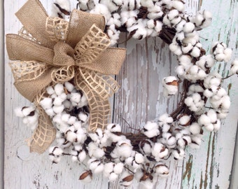 Southern Cotton Grapevine Wreath-READY TO SHIP!!