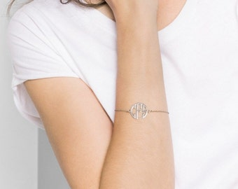 20% OFF + FREE SHIP Block Monogram Bracelet - Personalized Monogram Bracelet - Initials Bracelet - Bridesmaids Gift - Mother Gift