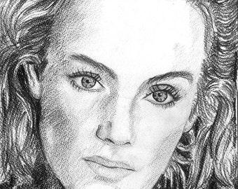 "portrait ""Jil Sander"" (charcoal drawing)"