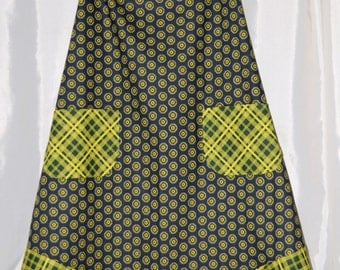Black and Zesty Lime Green Print Cotton Apron, one size fits most