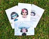 Kiddodog carte postale - Pop mignon set de 4 cartes postales - fantaisie fille personnage - Green lantern - tahiti - astronault - enveloppe gratuit