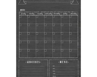 Dry-erase Chalkboard Family Calendar with Custom Boxes, 24x36 Customized Calendar #36.S1.V