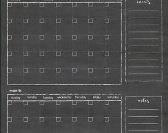 Double Calendar 24x36 Script style #D.C1.V