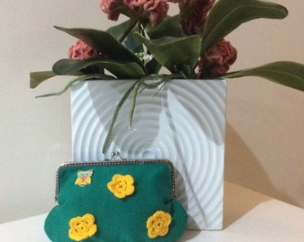 Green and Yellow Fabric Purse