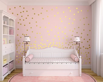 Metallic Gold Wall Decals Polka Dot Wall Sticker Decor   1 Part 86