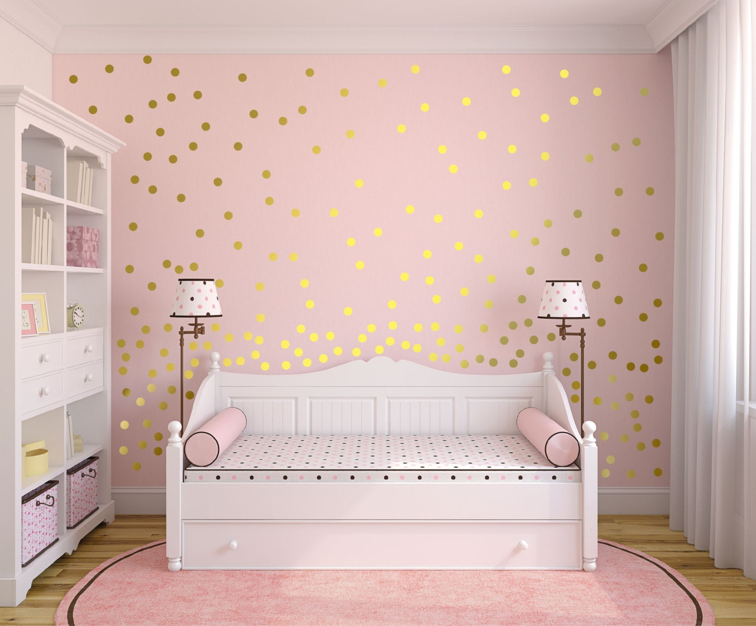Metallic Gold Wall Decals Polka Dot Wall Sticker Decor   1 Inch,  1.5,2,2.5,3, 3.5, 4 Inches Circle Vinyl Wall Decal