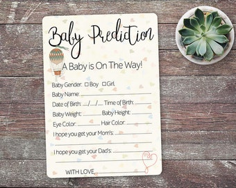 Baby Prediction Card/ Baby Shower Prediction Card / Gender Neutral Baby Shower Game / Printable Digital / INSTANT DOWNLOAD E-BS003