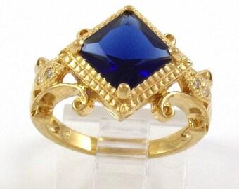 Sterling Silver 925 Gold Vermeil Blue Sapphire Princess Cut CZ Ring Size 7.25
