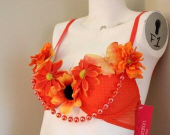 Funky orange flowered rave bra