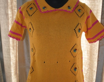 Short sleeves knitted hand 1950