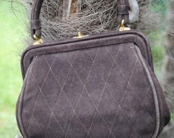 Brown suede handbag  1940