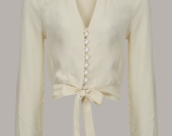 40's Vintage Inspired 'Clarice' Blouse in Cream by The Seamstress of Bloomsbury
